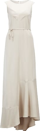 BOSS Sleeveless evening dress in lustrous crepe with scoop neck