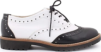 Zapato Womens Leather Oxford Shoes Model 258 Black White