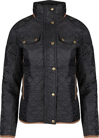 Be Jealous Womens Ladies Quilted Elbow Patches Funnel Neck Button Thick Warm Winter Jacket Black