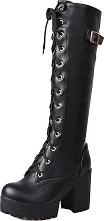 RAZAMAZA Women Fashion High Heel Tall Boots Lace Up Block Heel Biker Boots Platform Knee Boots Black Size 40 Asian
