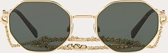 Valentino Valentino Occhiali Occhiale Da Sole Ottagonale In Metallo Con Catena Vlogo Signature Donna Oro/verde Fibra Di Metallo 100% OneSize