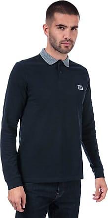 Weekend Offender Mens Mens Tennants Checker Long Sleeve Polo Shirt in Navy - 2XL
