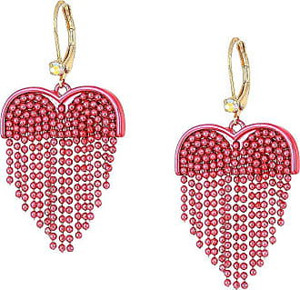 deaea6beaaa6 Betsey Johnson Fringe Heart Drop Earrings (Pink Multi) Earring