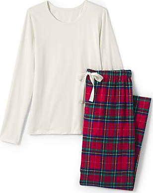Lands End Flanell Pyjama-Set mit gemusterter Hose in großen Größen - Rot - 52-54 von Lands End