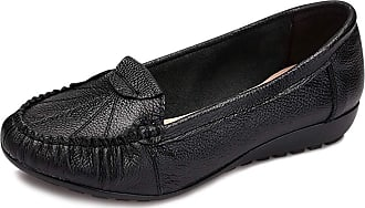 Daytwork Womens Casual Work Shoes - Ladies Round Toe Flat Loafers Wedge Heel Mocassins Slip-On Boat Shoes Slip Resistant Office Basic Style Black