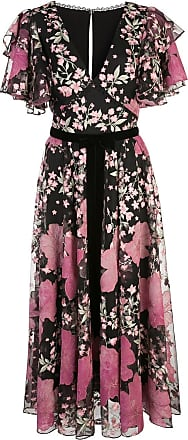 Marchesa embroidered floral ruffled dress - Black
