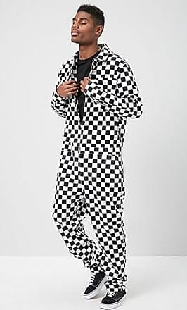 21 Men Checkered Print Jumpsuit at Forever 21 Black/white