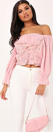 81ee1f8f286 I Saw It First Pink Lace Tie Front Bardot Top - OS / PINK