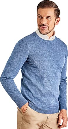 WoolOvers Mens Cashmere and Merino Crew Neck Knitted Jumper Sky Blue, XL