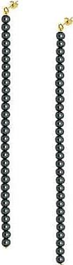 Misaki Boucles doreilles pendantes Heaven dorées de perles de culture noires