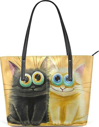 NaiiaN Purse Shopping Leather Cute Cat Cartoon Handbags Lake Tote Bag Light Weight Strap Shoulder Bags for Women Girls Ladies Student