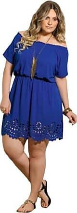 Quintess Vestido Ciganinha Plus Size Azul Royal Vazado Royal