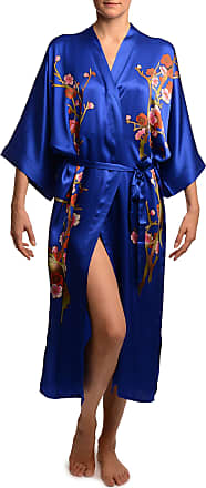 5a21d98df5 Liss Kiss Blue with Sakura Bloom Luxurious Silk Dressing Gown (Robe) - Blue  Floral