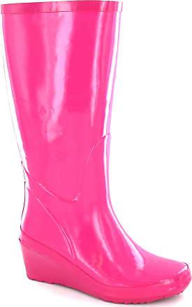 Spot On Womens/Ladies Rubber Wedge Heel Wellington Boots (4 UK) (Fuchsia)
