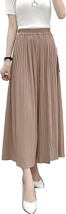 ZongSen Womens High Waist Plus Size Wide Pleated Leg Plain Trousers Pleated Bell-Bottoms Cropped Chiffon Pants Khaki S