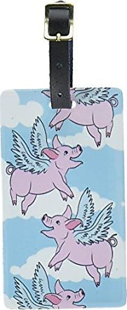 Graphics & More Graphics & More Pigs Fly Luggage Tags Suitcase Carry-on Id, White
