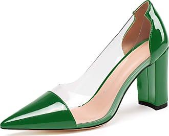 EDEFS Womens Pointed Toe Pumps Chunky Heel Dress Shoes Transparent Court Shoes Green EU45/UK10.5