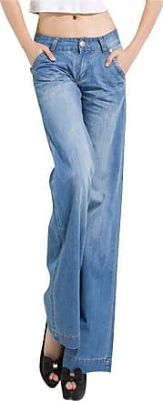 ZongSen Plus Size Women¡¯s 60s 70s Bell Bottoms Wide Flared Faded Jeans Light Blue 32