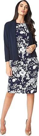 Roman Originals Women Knitted Bolero Shrug Jacket - Ladies Cropped 3/4 Length Sleeve Special Occasion Summer Smart Formal Casual Cover Up Cardigan Blazer - Navy - Siz