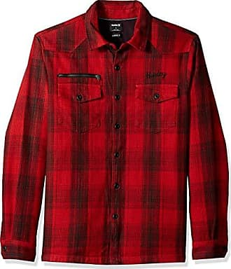 Hurley Mens Kyoto Heavy Weight Plaid Flannel Button Up Shirt, University red XL