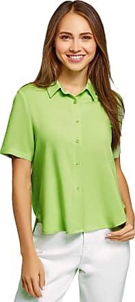 oodji Womens Short Sleeve Viscose Blouse, Green, UK 14 / EU 44 / XL