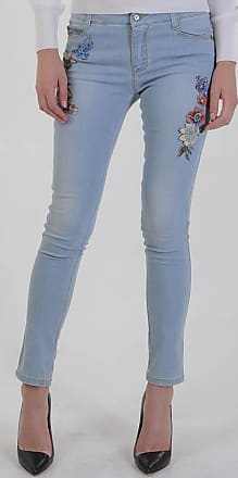 Ermanno Scervino 13cm Stretch Denim Flowers Embroidered Jeans size 42