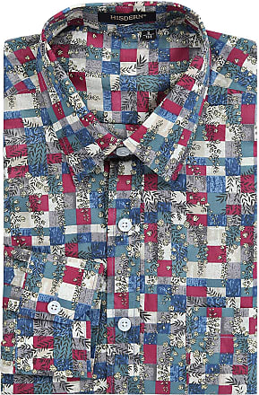 Hisdern Hisdern Mens Casual Funky Printed Shirt Fancy Plaid Floral Unique Pattern Cotton Regular Fit red Shirts for Men, Red & Blue, 2XL(Chest 55)
