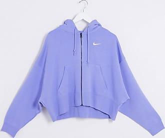 Nike Violetter, kurz geschnittener Oversize-Kapuzenpullover mit kleinem Logo