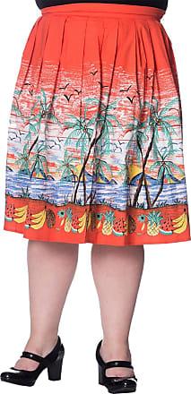 Banned Palm Springs Plus Size Skirt - Rust/UK-18 Orange