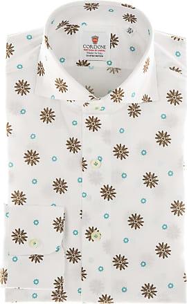Cordone 1956 Camicia sartoriale Mod. Seersucker Flower Printed Green - Tessuto cotone - seersucker - Colore bianca - Taglia 36