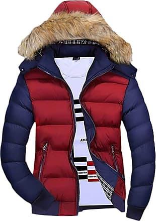 H&E Mens Fleece Windproof Puffer Padded Hoody Jacket Parka Coat Navy L