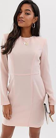 Asos Miniklänning med axelvaddar och dekorativa sömmar-Rosa