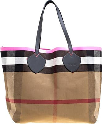 3864333cb1ed Burberry Black neon Pink Canvas And Leather Xl Reversible Tote