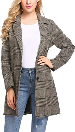 Zeagoo Women Casual Notch Lapel Plaid Single-Breasted Brown Wool Blend Coat Top