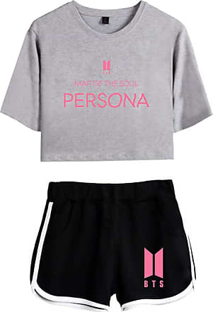 OLIPHEE Women BTS T-Shirt Set Tops and Shorts Casual Wear Love Your Self Personal Printed Tracksuits Bangtan Boys Fangirls Suga Jin Jimin Jung Kook J-Hope 125