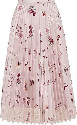 Red Valentino Redvalentino Woman Lace-trimmed Pleated Satin-twill Midi Skirt Pastel Pink Size 40