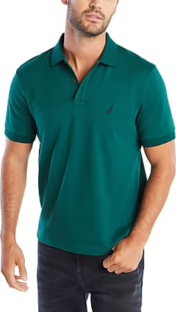 Nautica Mens Classic Fit Short Sleeve Soft Cotton Polo Shirt, Tidal Green Solid, Medium