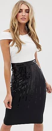 Lipsy 2-in-1-Kleid in Schwarz-Weiß mit überkreuzter Vorderseite und Paillettenbesatz-Mehrfarbig