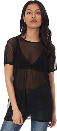 Re Tech UK Womens Ladies Short Sleeve Sheer Mesh See Through Plain Oversize Baggy T-Shirt, 20 (plus Size), Black
