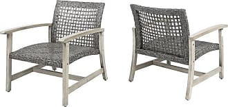 BEST SELLING HOME Outdoor Best Selling Home Hampton Wood and Wicker Patio Club Chairs - Set of 2 Teak / Mocha - 305211