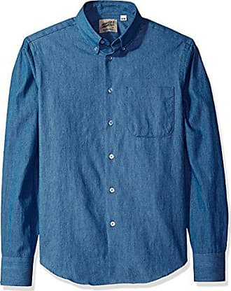 9b83c5dc67e Naked   Famous Denim Mens Lightweight Faded Denim Long Sleeve Button Down  Shirt
