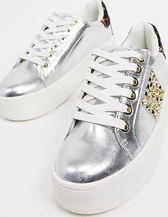 Kurt Geiger KG by Kurt Geiger - Lewis - Sneaker aus Leder mit flacher Plateau-Sohle mit seitlichen Streifen in Silber