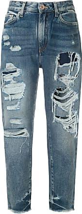 A|X Armani Exchange Calça jeans boyffriend cropped - Azul