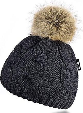 Echtes Fell Winter Bommelmütze Zopfmuster Strick Ski Mütze mit Teddyfutter MZ161
