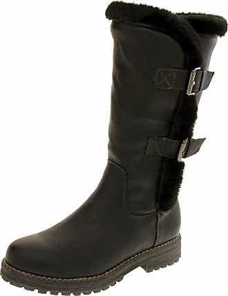 Footwear Studio Keddo Womens 808137/03 Black Faux Leather Real Wool Lined Winter Boots 3 UK