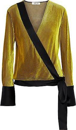 Diane Von Fürstenberg Diane Von Furstenberg Woman Satin-trimmed Devoré-mesh Wrap Top Yellow Size XS