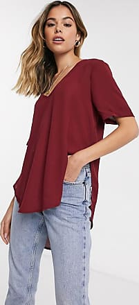 Glamorous T-Shirt mit Stufensaum in Burgunder-Rot