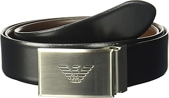 Emporio Armani Mens Smooth Leather Plate Belt, Brown, One size