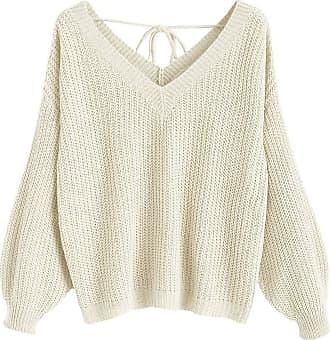 Zaful Womens V-Neck Lace Up Drop Shoulder Pullover Oversized Knit Sweater(Warm White,L)