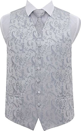 DQT Mens Passion Floral Wedding Waistcoat Neck Tie & Hanky - Silver 42